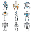 robot icons, color robot set