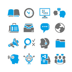 business and office icon set, blue theme
