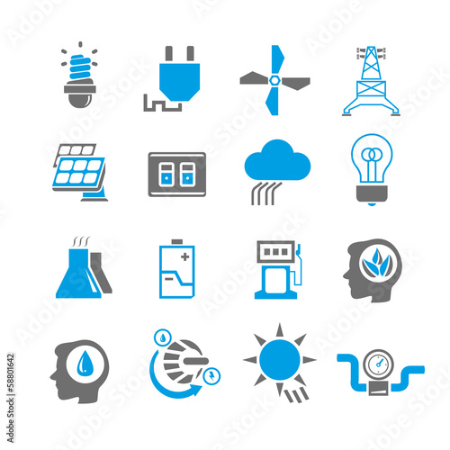 energy icon set, blue theme