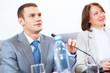 Two businesspeople at meeting