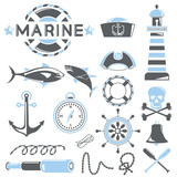 marine icons set, blue theme