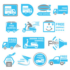 free shipping label set, icons