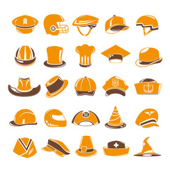 hat icons set, orange theme