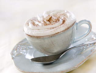 Closeup of a cup of hot chocolate.