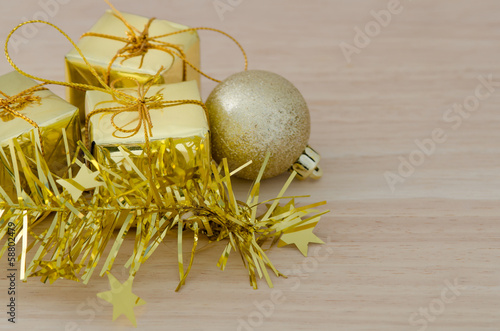 Gold Christmas bauble and Three Present Boxes