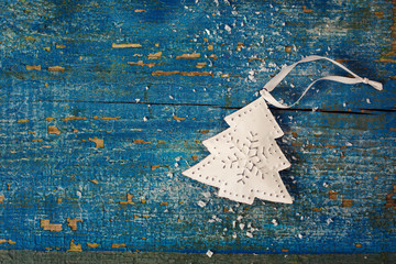 Vintage Christmas decoration on a wooden surface