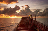oil tankers vessel at sunset