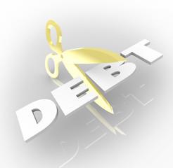 Debt Word Scissors Cutting Costs Money Owed
