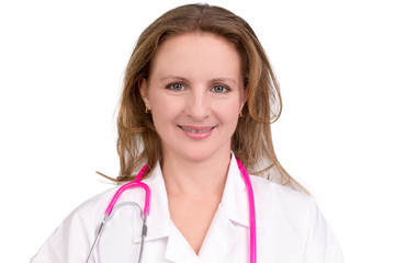 Friendly Female Doctor with Pink Stethoscope