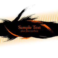 Black  ink grunge banner with orange.