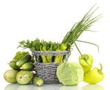 fresh green vegetables in basket isolated on white - 58803282