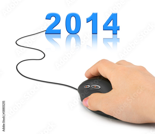 Hand with computer mouse and 2014