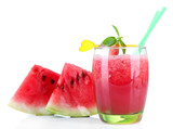 Glass of fresh watermelon juice, isolated on white