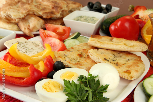 Traditional Turkish breakfast close up