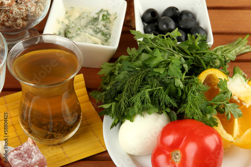 Traditional Turkish breakfast on table close up