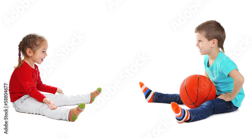 Little children playing with ball isolated on white