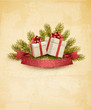 Holiday background with ribbon and red gift boxes. Vector.