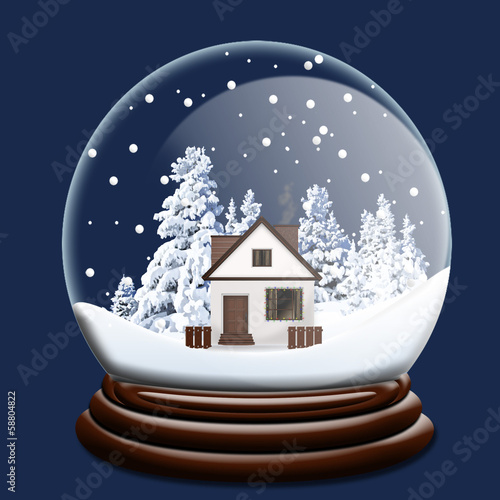 Christmas Globe with House