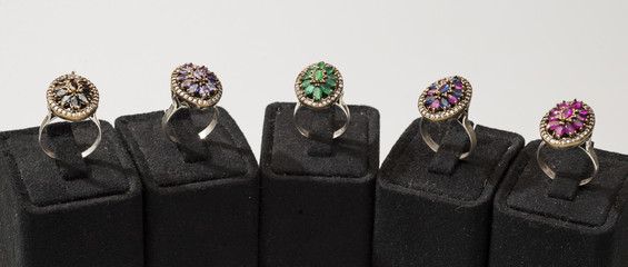 Selection of colorful gem rings