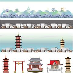 江戸時代からの日本の様々な伝統建築 Temples and Shrines ,Japan