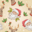 Christmas Santa Claus and Deer characters seamless pattern