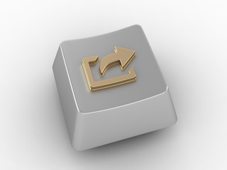 Keyboard key with gold arrow sign.