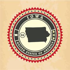 Vintage label-sticker cards of Iowa