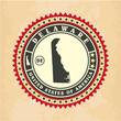 Vintage label-sticker cards of Delaware