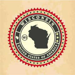 Vintage label-sticker cards of Wisconsin