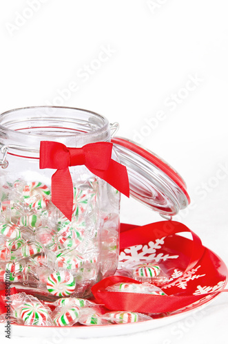 Pinwheel Christmas candies in a glass jar