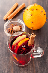Hot Christmas drink (mulled wine) with spices