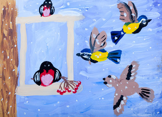 Child's gouache picture of winter birds