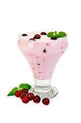 Yogurt thick with cranberries