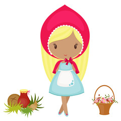 Little Red Riding Hood with a basket, flowers and food.