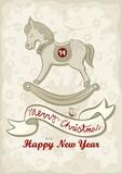 koń na biegunach świąteczna ilustracja z życzeniami
