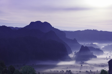 night mist cover tree and mountain At Phu Lang Ka