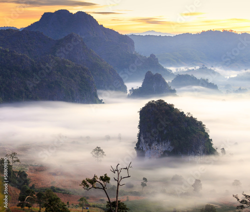 sunshine on the morning mist at Phu Lang Ka, Phayao, Thailand