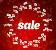 Sale on red christmas background with discount percents