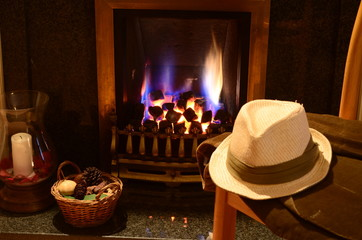Fireside Study with English gentlemans hat