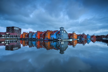 colorful buildings on water in Groningen