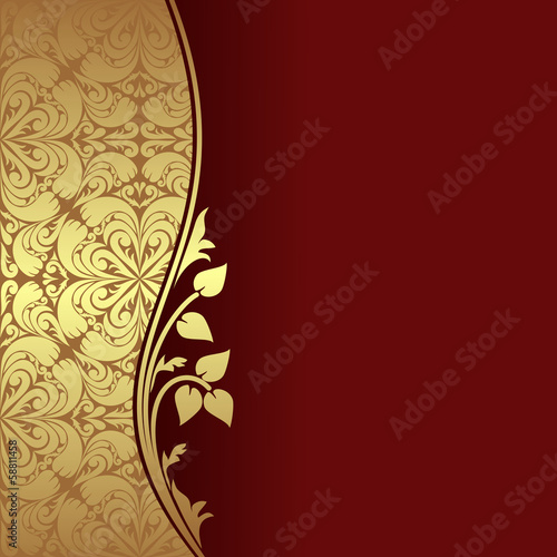 Luxury dark red Background with golden ornamental Border
