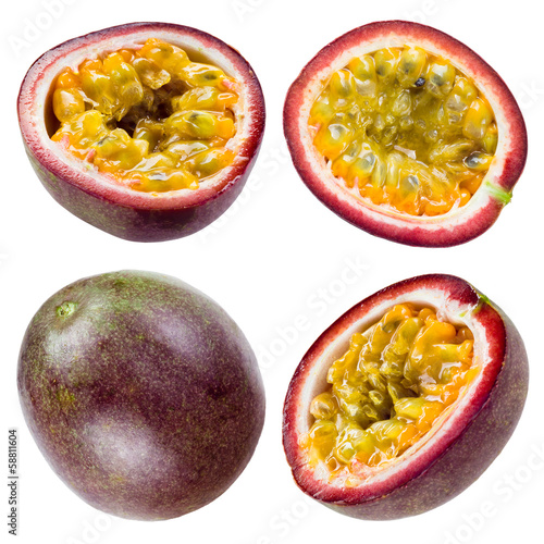 Passion fruit isolated on white background. Collection