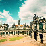 Zwinger and Hofkirche in Dresden, retro effect