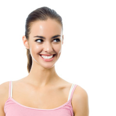 Portrait of young happy smiling woman, isolated