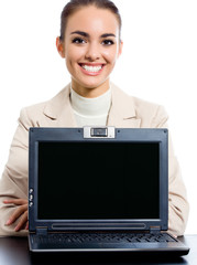 Businesswoman showing laptop with copyspace, on white