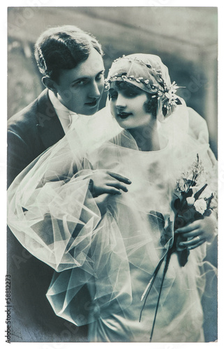 antique wedding photo. portrait of just married couple © LiliGraphie