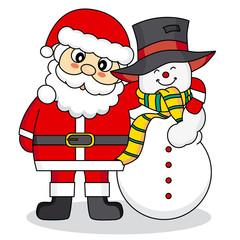 Santa Claus and snowman friends