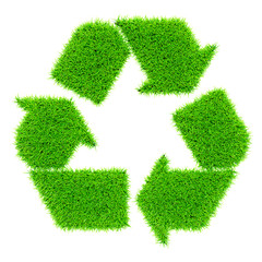 Green recycling symbol isolated on white