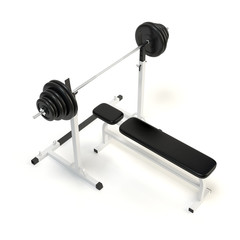 Barbell bench press. Isolated on white