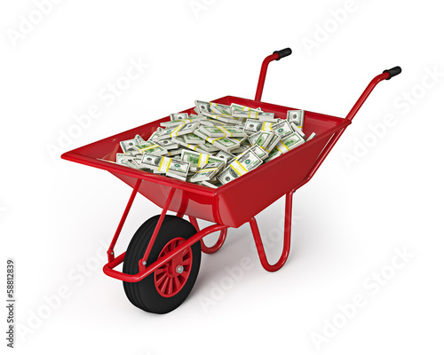 Wheel barrow full of dollars isolated on white background